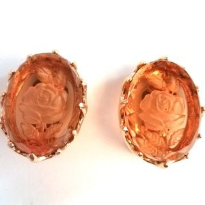 Vintage Chunky Amber Glass Rose Intaglio Earrings
